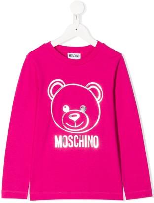 Moschino Kids metallic logo long sleeve top