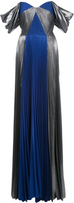 Marchesa Pleated Metallic Gown