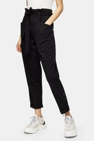 Topshop Womens Petite Black Paper Bag Waist Tapered Trousers - Black