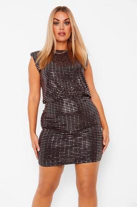 boohoo Plus Shoulder Pad Sequin Bodycon Dress