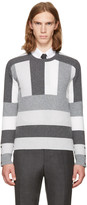 Thom Browne Grey Saddle Sleeve Crewneck Pullover