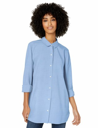 Goodthreads Washed Oxford Long-sleeve Button-front Shirt Blue Medium