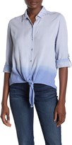 BeachLunchLounge Yumi Tie Front Ombre Button Down Shirt