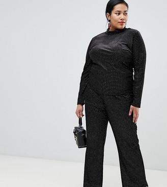 Glamorous Curve kick flare trousers in spot velvet