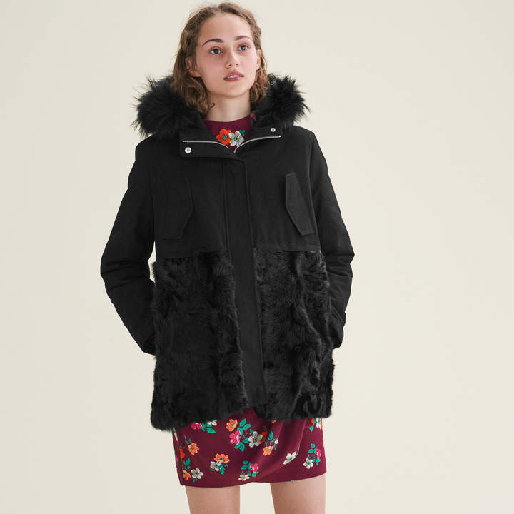 Maje Parka in cotton and curly sheepskin