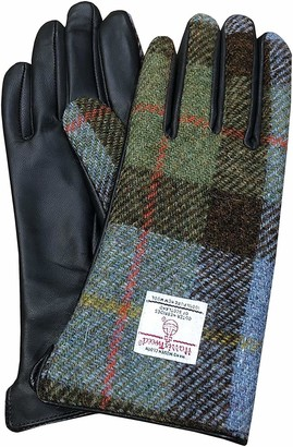 Highland Tweed Ladies Brown Leather & Authentic Harris Tweed Scottish Macleod Tartan Gloves - Comes in Gift Box (Small)