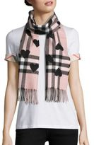 Burberry Heart-Print Giant Check Cashmere Scarf