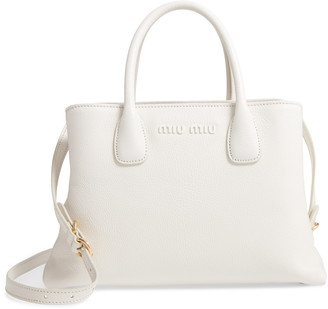 Miu Miu Goatskin Leather Top Handle Tote