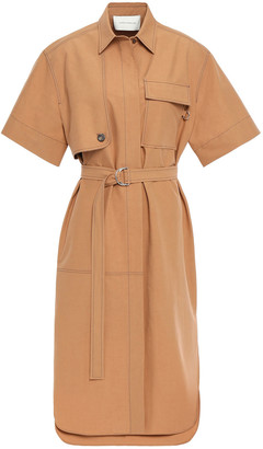 Cédric Charlier Belted Cotton-poplin Shirt Dress