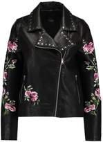 Even&Odd BIKER Faux leather jacket black