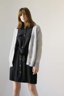 Frnch Diagonal Stripe Chenille V-Neck Cardigan