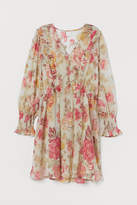 H&M - V-neck Chiffon Dress - Beige