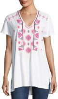 Johnny Was Embroidered V-Neck Jersey Tee, White