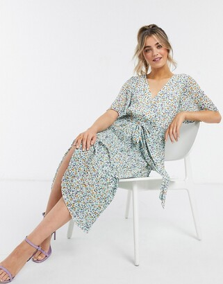ASOS DESIGN wrap front tiered pleated midi dress in ditsy floral print
