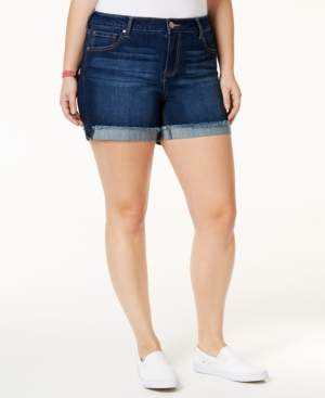 Celebrity Pink Plus Size Frayed High-Waisted Denim Shorts