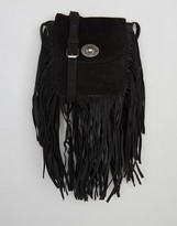 Pieces Suede Fringed Crossbody Bag