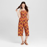 Xhilaration Women's Lattice-Front Jumpsuit Juniors') Gold