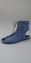 Athena Lace Up Denim Booties