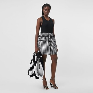 Burberry Gingham Cotton and Technical Wool Loop-back Dress
