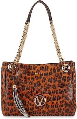 Mario Valentino Luisa Animalier Leopard Leather Shoulder Bag