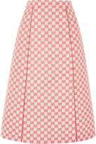 Gucci Printed Cotton-blend Canvas Midi Skirt - Red
