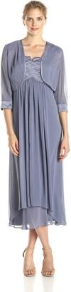 Dana Kay Women's 3/4 Sleeve Illusion Jacket with Ruched Bodice Dress
