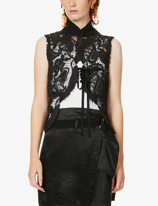 Ann Demeulemeester High-neck sleeveless lace vest