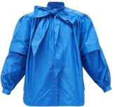 Balenciaga Pussy-bow Puff-sleeved Silk-taffeta Blouse - Womens - Blue