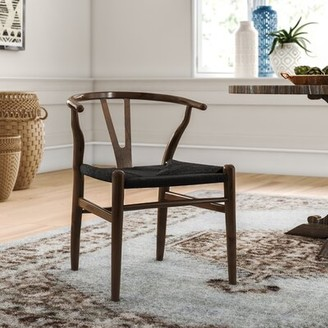 Traskwood Solid Wood Cross Back Side Chair (Set of 2) Mistana Color: Dark Brown with Black Seat