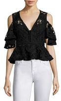 Nanette Lepore Cocktail Lace Peplum Cold Shoulder Cropped Top