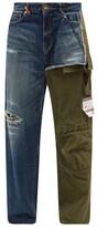Thumbnail for your product : Miharayasuhiro Mihara Yasuhiro - Hybrid Denim And Canvas Relaxed-leg Jeans - Navy