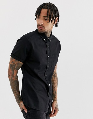 Asos DESIGN stretch slim denim shirt in black