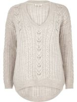 River Island Womens Stone cable knit sweater