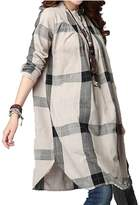 Hole Tide Women's Checkered Cotton & Linen Oversized Long Sleeves Blouse Size US