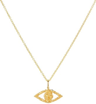 Sydney Evan Small Evil Eye 14kt gold nugget necklace