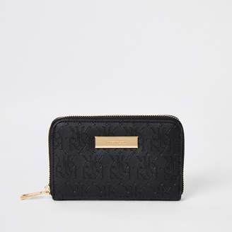 River Island Black RI embossed mini zip around purse