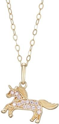 Charming Girl 14k Gold Cubic Zirconia Unicorn Pendant Necklace