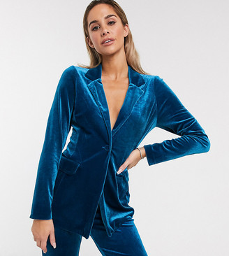 Asos Design DESIGN jersey single breasted suit blazer in velvet-Green