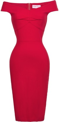 Belle Poque Ladies Fifties Style Elegant High Stretchy One-Piece Dress for Office Red(BP0387) L