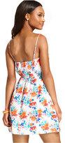 Trixxi Juniors' Lace-Trim Floral-Print Dress