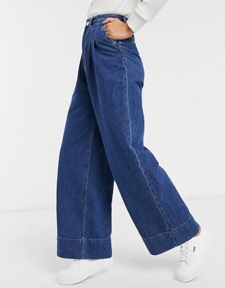 Monki Nani organic cotton wide leg jeans in medium blue
