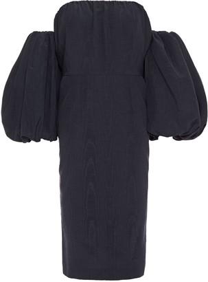 Stella McCartney Off-the-shoulder Gathered Cotton-blend Moire Dress