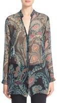 Etro Paisley Print Silk Chiffon Tunic