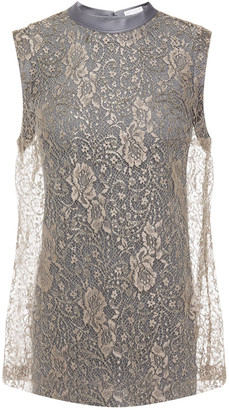 Brunello Cucinelli Satin-trimmed Layered Metallic Lace And Jersey Top