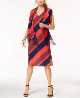 Donna Ricco Striped Shift Dress & Scarf