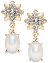 Charter Club Gold-Tone Crystal & Imitation Pearl Drop Earrings, Only at Macy's
