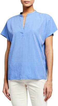Eileen Fisher Sandwash Split-Neck Short-Sleeve Top
