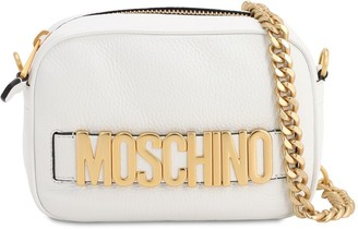 Moschino LOGO LETTERING LEATHER CAMERA BAG