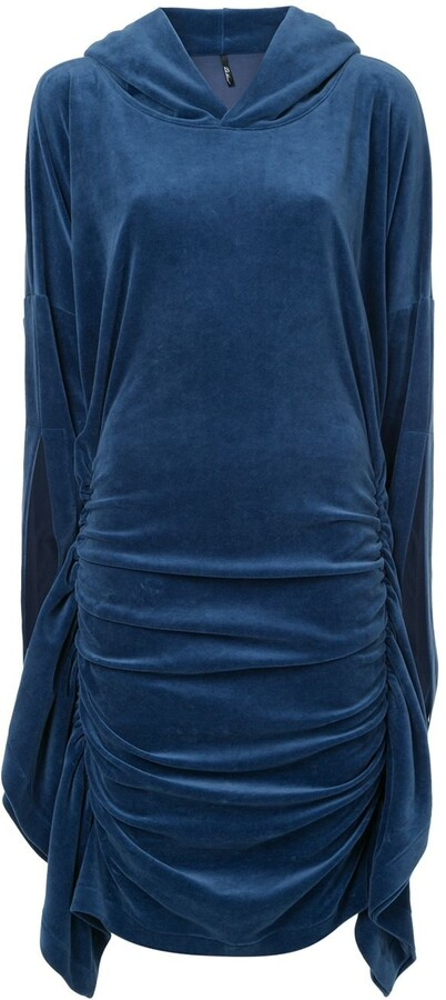 Paula Knorr Velour Ruched Hooded Dress