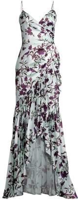 Flor Et. Al Heme Floral Charmeuse High-Low Gown
